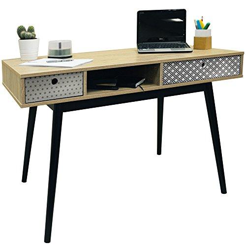 RETRO - Konsolentisch Frisiertisch Schreibtisch mit 2 Schubladen im Styl Retro - Eiche/ Schwarz