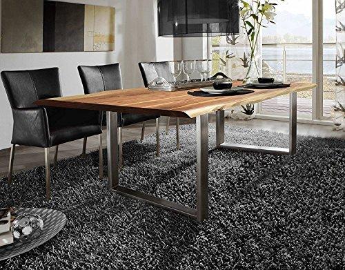 SAM® Esszimmertisch 120x80 cm Ida, echte Baumkante, massiver Esstisch aus Akazienholz, Metallbeine silber, Baumkantentisch