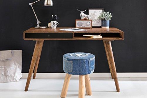Schreibtisch schwarz 120 x 60 x 75 cm Massiv Holz Laptoptisch Sheesham Natur - Landhaus-Stil Arbeitstisch mit 1 Schublade - Bürotisch PC-Tisch