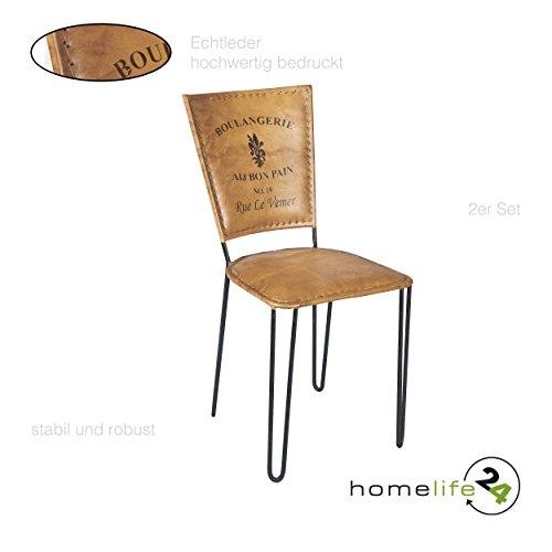 Retro stuhl stuhl 2er set leder braun schwarz eisen for Vintage einrichtung shop