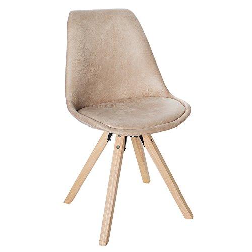 Stuhl SCANDINAVIA MEISTERSTÜCK beige Beine aus Massivholz antik beige im Retro Trend Esszimmerstuhl Esszimmer