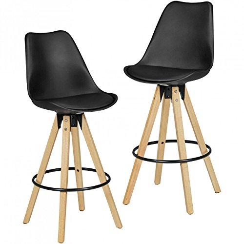 Wohnling Barhocker Retro Design Stoff Holz mit Rücken-Lehne, 2er Set, 72 cm, schwarz