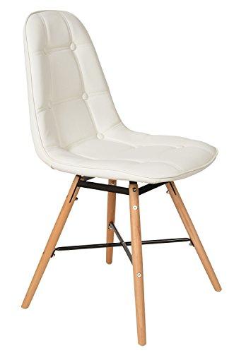 ts-ideen 1 x Lounge Stuhl Design Klassiker Sessel Retro 50er Jahre Barstuhl Küchenstuhl Esszimmerstuhl Kunstleder Sitz in Weiß Holz Buche