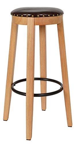 ts-ideen 1x Barhocker Bistrostuhl Schemel Esstisch Stuhl Küche Hocker Holz Kunstleder braun 72 x 45,5 cm