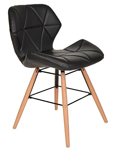 ts-ideen 1x Design Büro Stuhl Esszimmer Büro Sitz Polster Kunstleder Schwarz Holz 71 x 49 cm