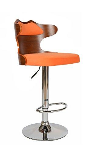 ts-ideen 1x Design Club Stuhl Barhocker Barstuhl Küchen Esszimmer Sitz Höhenverstellbar Orange Holz Walnuss Dunkel