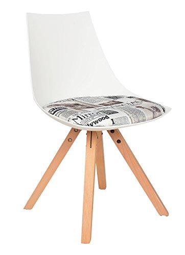 ts-ideen 1x Design Küchen Stuhl Esszimmer Büro Sitz Polster Kunstleder Weiß Zeitung