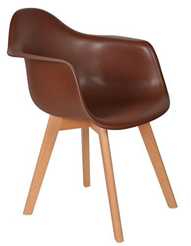 ts-ideen 1x Design Stuhl Wohnzimmer Esstisch Küchen Esszimmer Sitz Braun Holz Buche
