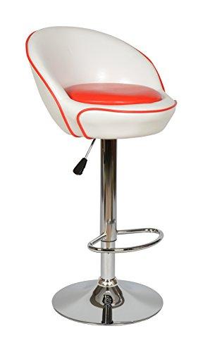 ts-ideen Design Club Barhocker Barstuhl Küchen Esszimmer Stuhl Sitz Kunstleder Weiß Rot Sitzhöhe 67 - 88 cm