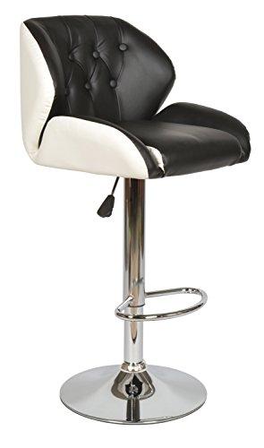 ts-ideen Design Club Barhocker Barstuhl Küchen Esszimmer Stuhl Sitz Weiß und Schwarz Sitzhöhe 61 - 82 cm