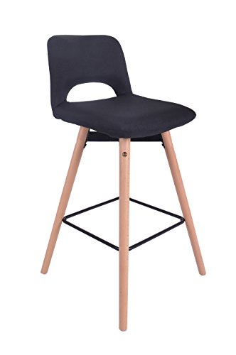 ts-ideen Design Klassiker Barhocker Stuhl Retro 50er Jahre Barstuhl Küchenstuhl Esstisch Stuhl Bistrostuhl Wohnzimmer Sitz Schwarz Hocker Holz