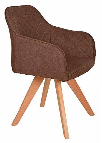 ts-ideen Lounge Design Sessel Barsessel Clubsessel Stoff in Braun Esstisch-Stuhl Füße aus Buchenholz