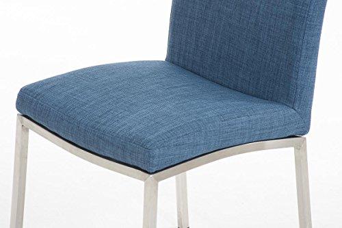 CLP Esszimmerstuhl GRENOBLE mit hochwertiger Polsterung und Stoffbezug   Polsterstuhl mit massivem Edelstahlgestell   Küchenstuhl mit hoher Rückenlehne und einer Sitzhöhe von: 48 cm   In verschiedenen Farben erhältlich Blau