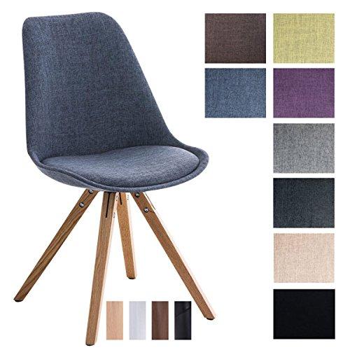 CLP Design Retro-Stuhl PEGLEG SQUARE mit Stoffbezug   Gepolsterter Schalenstuhl mit Holzbeinen und einer Sitzhöhe von: 46 cm   In verschiedenen Farben erhältlich Blau, Holzgestell Farbe natura, Bein-Form eckig