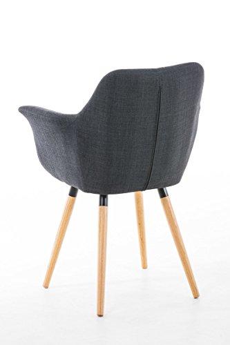 CLP Esszimmerstuhl VANCE V2 mit hochwertiger Polsterung und Stoffbezug | Polsterstuhl mit Armlehne und stabilem Holzgestell | Konferenzstuhl mit einer Sitzhöhe von 54 cm | In verschiedenen Farben erhältlich Grau