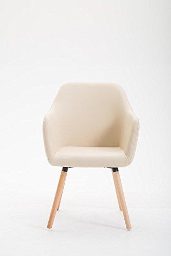 CLP Esszimmerstuhl PICARD V2, Designerstuhl mit Buchenholzgestell, Polsterstuhl mit Kunstlederbezug Creme, Gestellfarbe: Natura