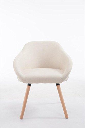 CLP Besucher-Stuhl HAMBURG mit Armlehne, max. Belastbarkeit 150 kg, Holz-Gestell, Stoff-Bezug, Sitzfläche gepolstert, mit Bodenschonern, Creme, Gestellfarbe: Natura