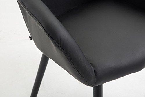 CLP Esszimmerstuhl DEBBIE mit Kunstlederbezug und sesselförmigem gepolstertem Sitz | Retrostuhl mit Armlehne und einer Sitzhöhe von 46 cm | In verschiedenen Farben erhältlich Schwarz, Gestellfarbe: Schwarz