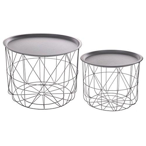 2-teiliges Set: ineinander passende Kaffeetische mit abnehmbarer Platte - modernes Design - Farbe GRAU