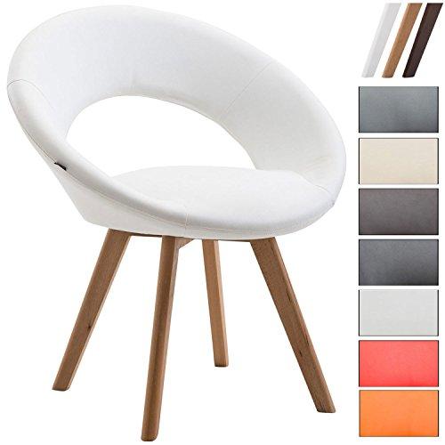 CLP Esszimmerstuhl BECK mit Rückenlehne, gepolsterter Besucherstuhl mit Kunstlederbezug, Vierfuß Holzgestell, moderner Look Weiß, Gestellfarbe: Natura
