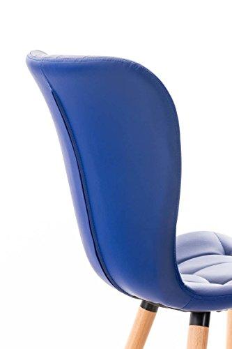 CLP Esszimmerstuhl ELDA mit hochwertiger Polsterung und Kunstlederbezug   Lehnstuhl mit robustem Holzgestell   Polsterstuhl mit stilvollen Ziernähten   In verschiedenen Farben erhältlich Blau