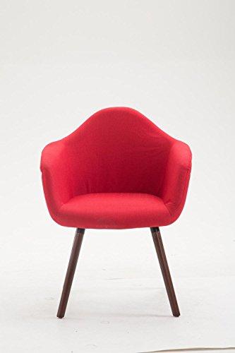 CLP Esszimmerstuhl TITO mit hochwertiger Polsterung und Stoffbezug   Sessel mit robustem Holzgestell aus Buchenholz   In verschiedenen Farben erhältlich Rot, Gestellfarbe: Walnuss