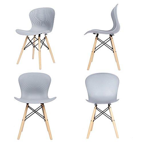 4x panana Holz Eiffel Stuhl aus Kunststoff Gerippter Retro Stuhl Lounge Esszimmer Set Stühle grau