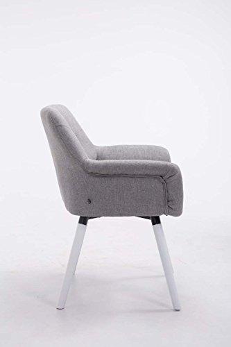 CLP Esszimmerstuhl CASSIDY mit Stoffbezug und sesselförmigem gepolstertem Sitz | Retrostuhl mit Armlehne und einer Sitzhöhe von 45 cm | In verschiedenen Farben erhältlich Grau, Gestellfarbe: Weiß