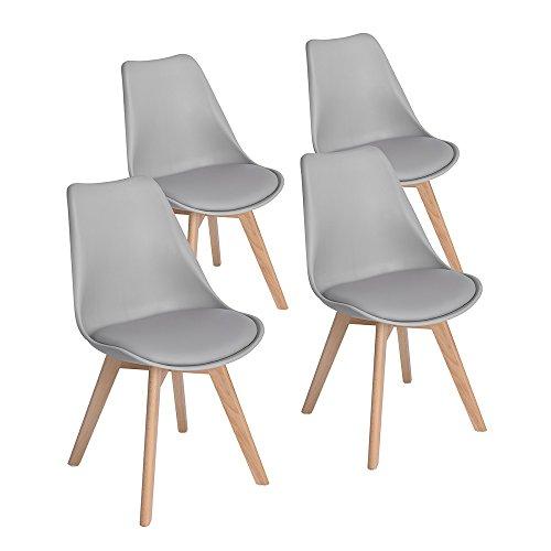 4er Set Esszimmerstühle mit Massivholz Buche Bein, Retro Design Gepolsterter lStuhl Küchenstuhl Holz, Grau