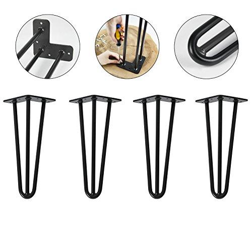 4x Natural Goods Berlin Tischbeine | Hairpin Legs | 30cm 3 Stangen | SCHWARZ pulverbeschichtet | 12mm Stahl | niedriger Couchtisch
