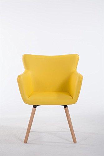 CLP Esszimmerstuhl ANTWERPEN mit hochwertiger Polsterung und Kunstlederbezug   Konferenzstuhl mit Holzgestell und Bodenschonern   Polsterstuhl mit einer maximalen Belastbarkeit von 160 kg und einer Sitzhöhe von 46 cm   Freie Farbwahl Gelb, Gestellfarbe: Natura