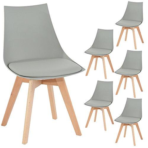 6er Set Holz küchen stühle, EGGREE Retro gepolsterter Bürostuhl mit Füßen in massivem Buchenholz - Grau,50*48*82 cm