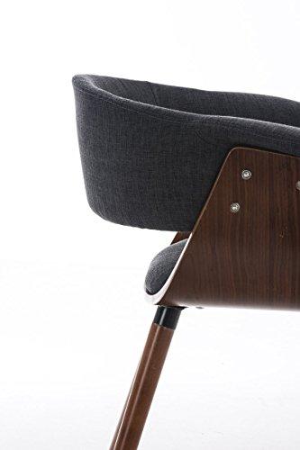 CLP Esszimmerstuhl PIRMA mit Stoffbezug | Konferenzstuhl mit robustem Holzgestell | In verschiedenen Farben erhältlich Dunkelgrau