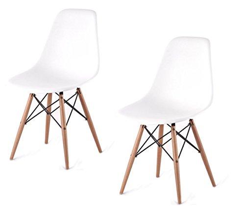 ARREDinITALY Set 2Stühle-Design Stil DSW, Replica von Qualität Polypropylen weiß und Geprüfte Catas.