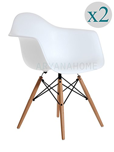 Aryana Home Eames Replik–Set Stühle, 59x 62x 82,50cm 59 x 62 x 82.5 cm weiß