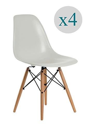 Aryana Home - Pack von 4 Stuhl (tower eame nachbildung) Grau