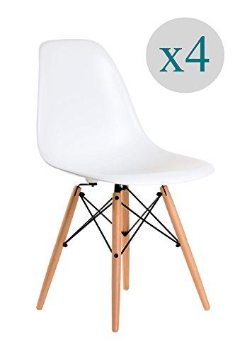 Aryana Home - Pack von 4 Stuhl (tower eame nachbildung) Weib