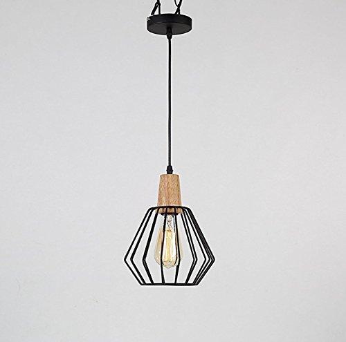 Asvert Industrie Pendelleuchte Metall Geometrische hängende Eisen Kronleuchter Vintage Industrial E27 Edison Deckenleuchte Cage Schwarz Lampenschirm Leuchte für Küche Wohnzimmer Esszimmer Flur Café Restaurant usw. (Enthält keine Glühbirnen)