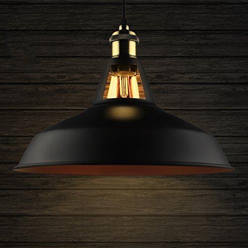 B2ocled Industrielle Vintage Retro Pendelleuchte Hängeleuchte mit schwarzer Metallschirm, für Wohnzimmer Esszimmer Restaurant Keller Untergeschoss usw. (Schwarz-rot,Durchmesser 27 cm)