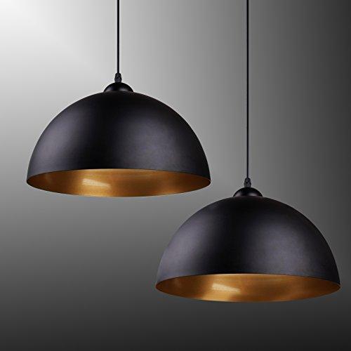 BAYTTER® Design 2x Industrielle Vintage LED Pendelleuchte Hängeleuchte Φ 30cm für E27 Leuchtmittel, schwarz und weiß wählbar, für Wohnzimmer Esszimmer Restaurant Keller Untergeschoss usw. (schwarz)