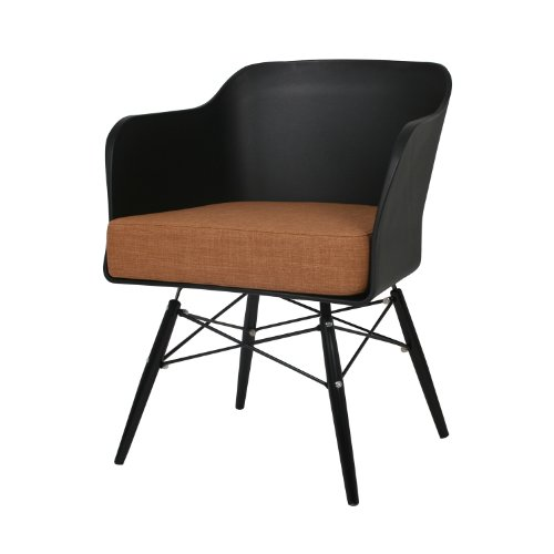 BUTIK Design Esszimmerstuhl Cooper, 2-er Set, 77 x 61 x 49 cm, braunes Sitzkissen aus hochwertiger Baumwolle, grau / plastik schwarz