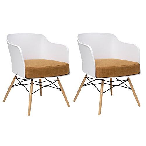 BUTIK Design Esszimmerstuhl Cooper, 2-er Set, 77 x 61 x 49 cm, braunes Sitzkissen aus hochwertiger Baumwolle, plastik weiß