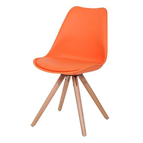 BUTIK FL20353-2 Esszimmerstuhl Woody 2-er Set, Höhe x Breite x Tiefe: 83 x 48 x 39 cm, orange/holz