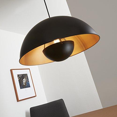 Briloner Leuchten 4380-115 LED Pendellampe, Pendelleuchte, retro, Hängeleuchte, Hängelampe, E27, Metall, 60 W, schwarz/gold/matt, 42 x 42 x 130 cm