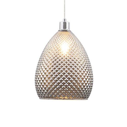 Briloner Leuchten - LED Hängelampe, Hängeleuchte, rauch-chrom Glas in Rauten-Optik, Retro/Vintage Design, Glas-Metall, E27, 24 x 120 cm