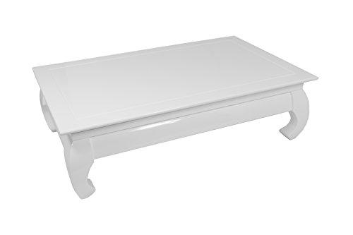 CAVADORE Couchtisch OPIUM 01/Niedriger Tisch mit schwungvollen Füßen in modernem Design/Hochglanz Weiß lackiert/80 x 130 x 38 cm (T x B x H)