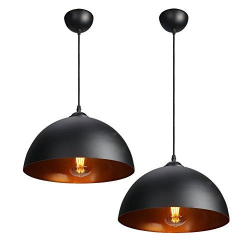 CCLIFE 2x Industrial Vintage Retro Pendellampe Pendelleuchte Hängelampe Hängeleuchte für Küchen Esszimmer Schwarz/Weiß 30cm E27 Leuchtmittel, Farbe:Schwarz