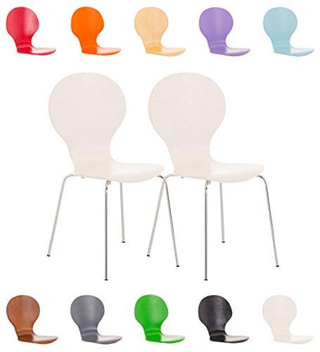 CLP 2x Stapelstuhl DIEGO ergonomisch geformter Konferenzstuhl mit Holzsitz und stabilem Metallgestell | 2x Platzsparender Stuhl mit pflegeleichter Sitzfläche | In verschiedenen Farben erhältlich Weiß
