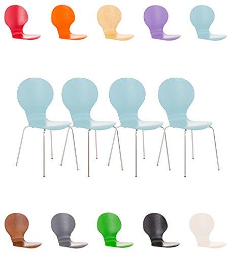 CLP 4x Stapelstuhl DIEGO ergonomisch geformter Konferenzstuhl mit Holzsitz und stabilem Metallgestell   4x Platzsparender Stuhl mit pflegeleichter Sitzfläche   In verschiedenen Farben erhältlich Hellblau