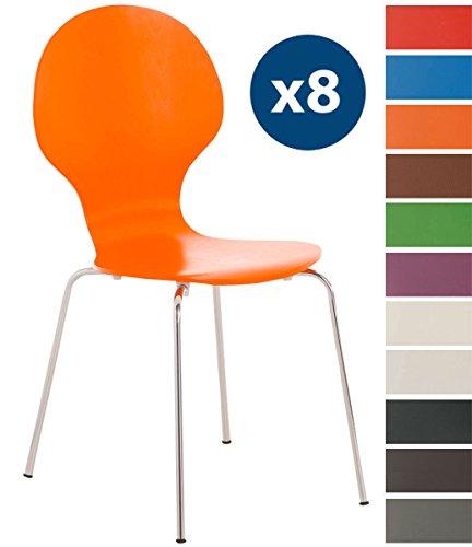 CLP 8 x Stapelstuhl DIEGO ergonomisch geformter Konferenzstuhl mit Holzsitz und stabilem Metallgestell   8 x Platzsparender Stuhl mit pflegeleichter Sitzfläche   In verschiedenen Farben erhältlich Orange
